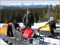 Parking area for worker's snowmobiles near Deadman Pass, Colo.