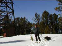Worker hauls snowpack samples away from site at Kings Hill, Mont.